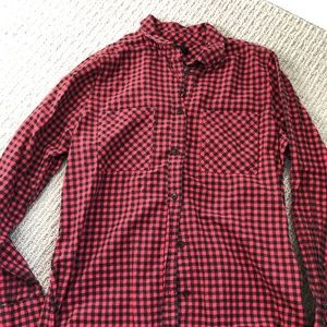 J Crew Red & Black Checkered Flannel Button Shirt